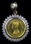เหรียญทองคำ ร.5 119 ปี วัดโพธิ์ทอง ทองคำ ล้อมเพชร หายากส์